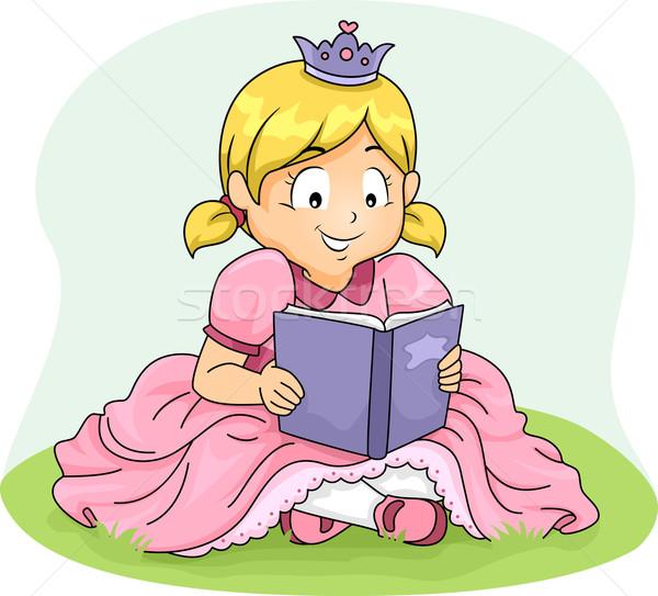 Dziecko dziewczyna princess przeczytać książki ilustracja Zdjęcia stock © lenm