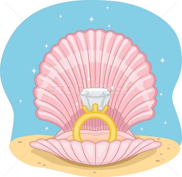 Anel de casamento concha ilustração sessão abrir oceano Foto stock © lenm
