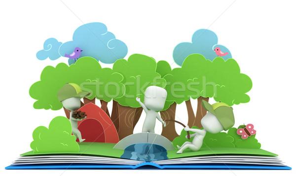 Camping boek 3d illustration kinderen kinderen vissen Stockfoto © lenm