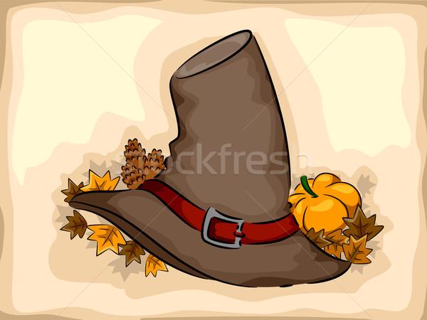 Zarándok kalap illusztráció őszi levelek ősz ünnep Stock fotó © lenm