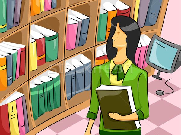 Kadın kütüphaneci karikatür örnek kız öğrenci Stok fotoğraf © lenm