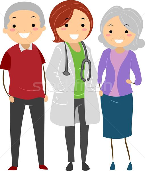 Stock photo: Senior Couple with their Doctor Stickman