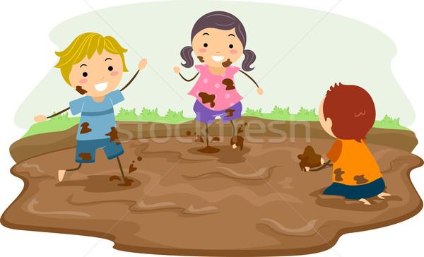 çamur oynamak örnek oynayan çocuklar kız çocuklar Stok fotoğraf © lenm