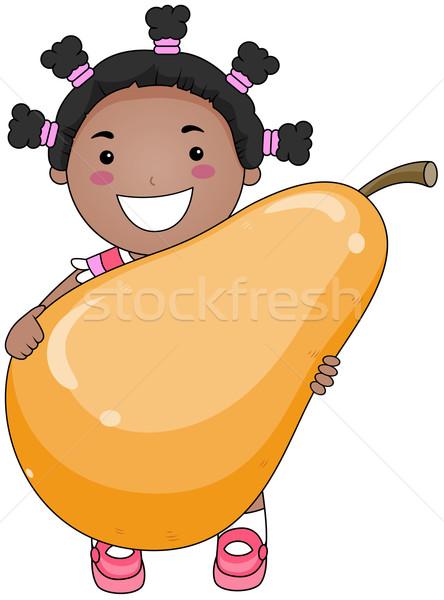 Photo stock: Fille · poire · fruits · fruits · jeunes