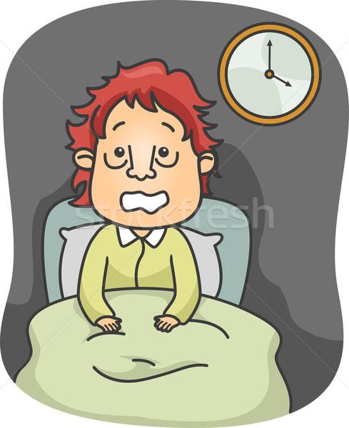 男 実例 座って ベッド 広い 目が覚める ストックフォト © lenm