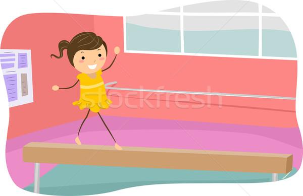 Egyensúly nyaláb lány illusztráció sétál fa Stock fotó © lenm