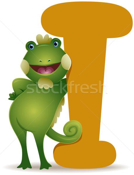 Iguana list cartoon jaszczurka domowych Zdjęcia stock © lenm