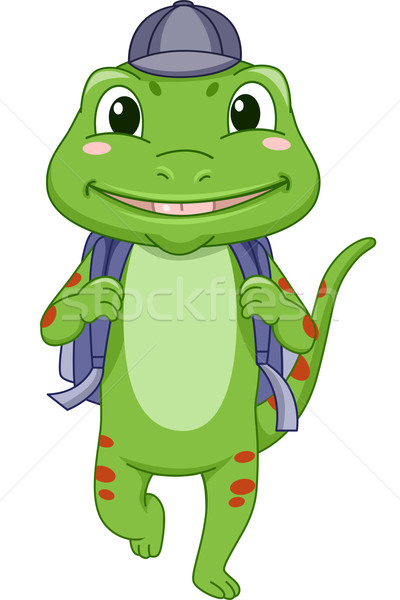 Gekkó iskolás fiú illusztráció iskola tanul állat Stock fotó © lenm
