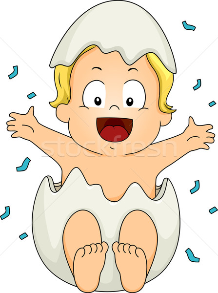 Geslacht illustratie baby jongen uit ei Stockfoto © lenm
