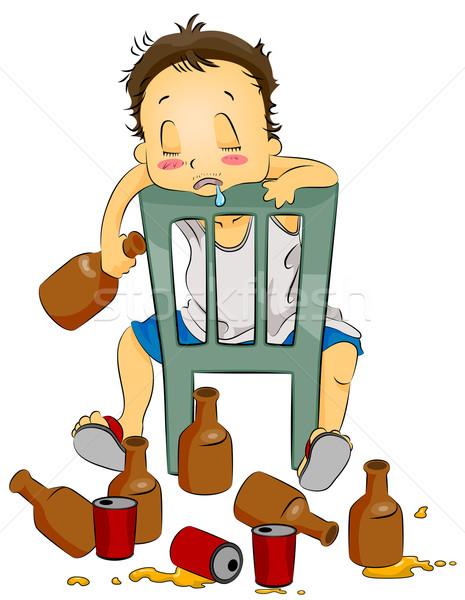 Bêbado ilustração homem sessão cadeira cara Foto stock © lenm