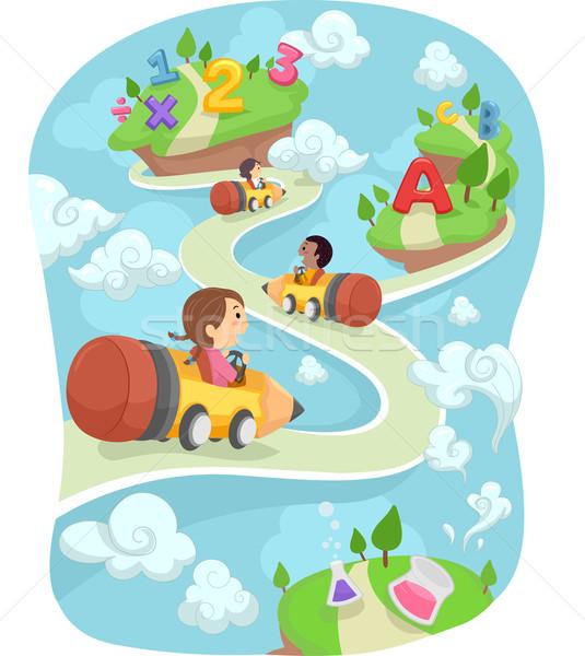 Gyerekek ceruza autó föld illusztráció vezetés Stock fotó © lenm