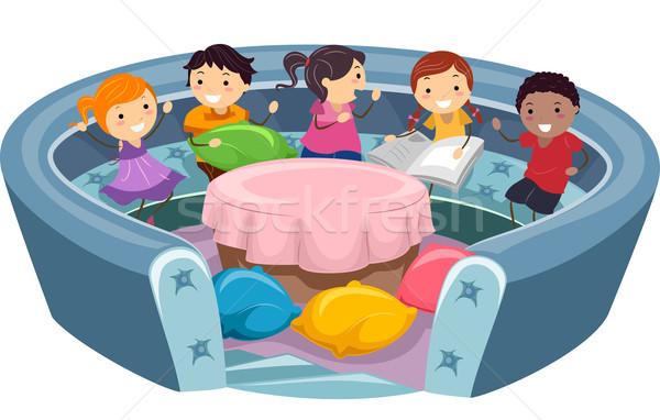 Crianças conversa ilustração menina crianças criança Foto stock © lenm