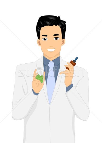 Férfi tart gyógynövény kapszulák illusztráció üveg Stock fotó © lenm