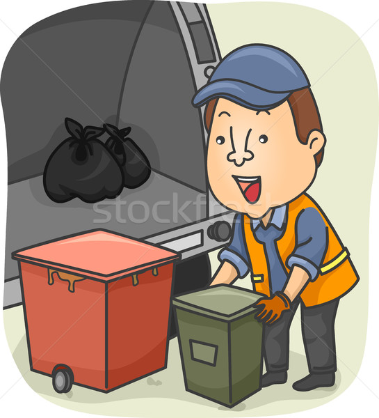 Man Loading Garbage Truck Stock photo © lenm