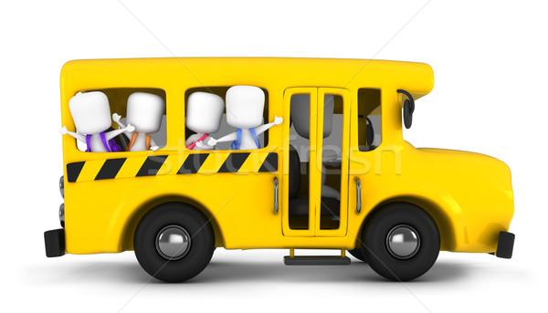 Iskolabusz 3d illusztráció gyerekek integet gyerekek iskola Stock fotó © lenm