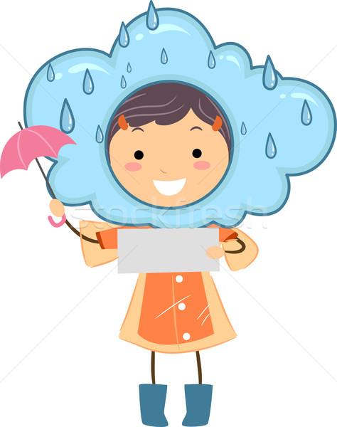Regenachtig weer illustratie kid nota Stockfoto © lenm
