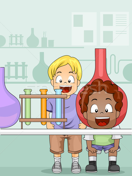 Scienza Lab illustrazione ragazzi laboratorio bambini Foto d'archivio © lenm