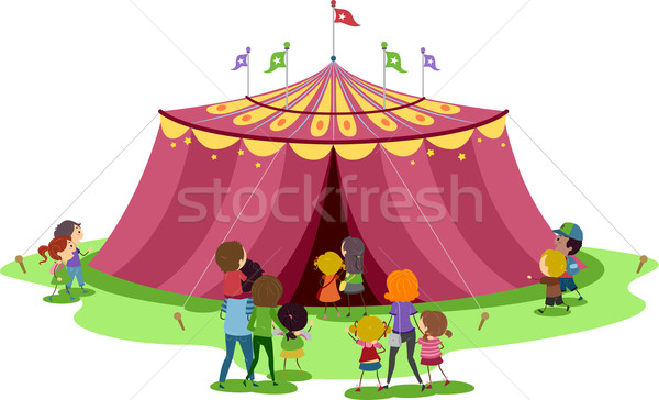 Cyrku namiot ilustracja rodziny wewnątrz rodziny Zdjęcia stock © lenm