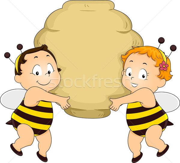 Bee Babies holding a Beehive Stock photo © lenm