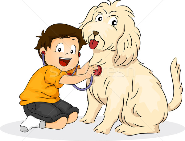 Boy Playing Doctor with his Dog Stock photo © lenm