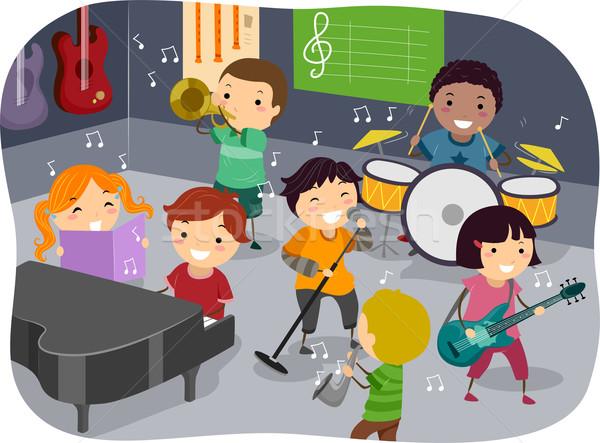 Gyerekek zene szoba illusztráció gyerekek játszanak különböző Stock fotó © lenm