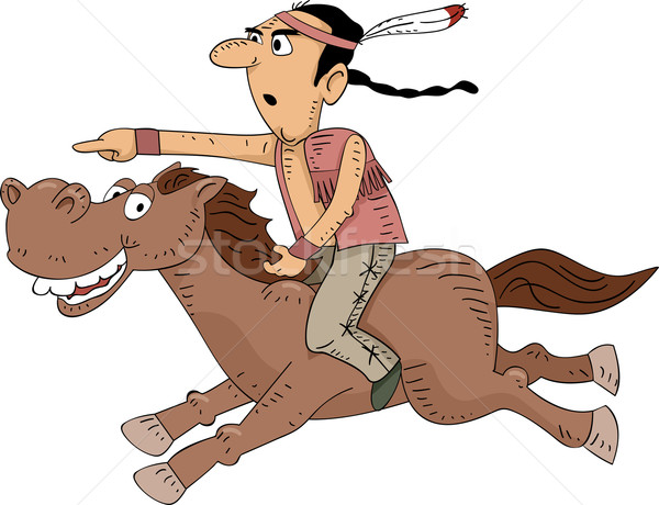 Native American Horseback Riding Stock photo © lenm