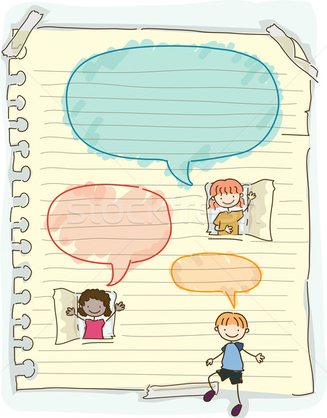 Doodle Kids Speech Bubbles Stock photo © lenm