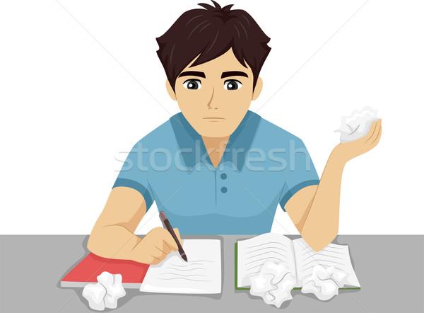 Student huiswerk illustratie mannelijke tiener moeite Stockfoto © lenm