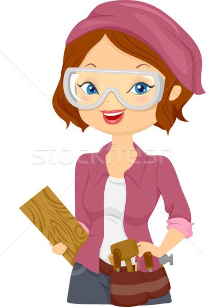 Wood Carver Girl Stock photo © lenm