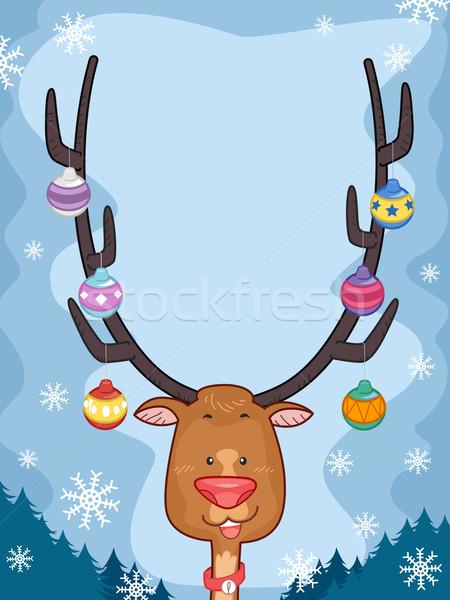 Rena ilustração natal enforcamento arte gelo Foto stock © lenm
