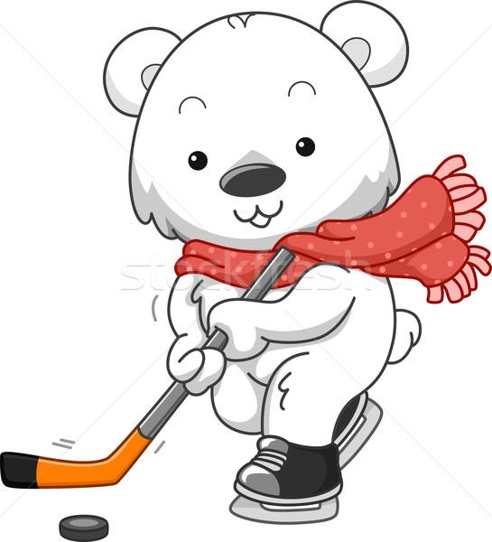 Urso polar gelo jogar arte hóquei Foto stock © lenm