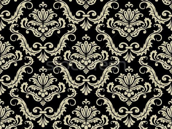 シームレス ダマスク織 パターン 黒 壁紙 エレガントな ストックフォト © lenm