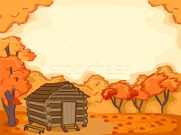Log Cabin Autumn Stock photo © lenm