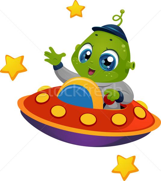 外国 少年 宇宙船 実例 ライディング 芸術 ストックフォト © lenm