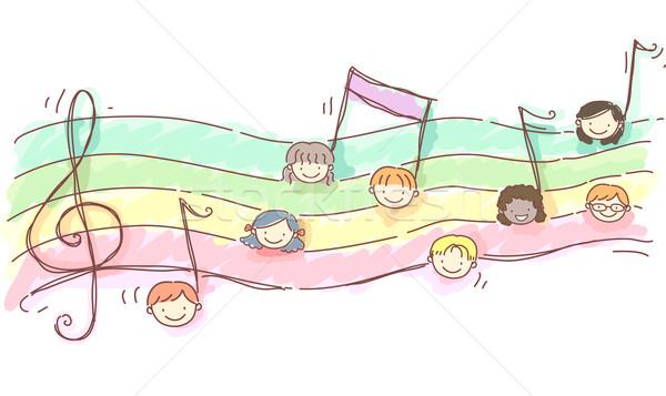 дети музыку лист иллюстрация музыки отмечает Сток-фото © lenm