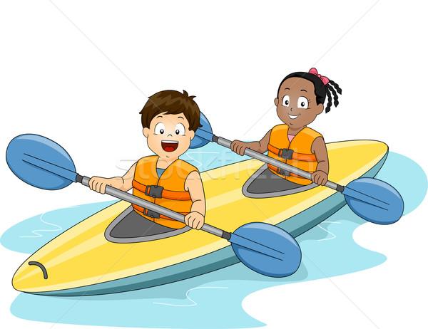 Kids Kayaking Stock photo © lenm