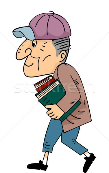 Senior man lopen boeken illustratie Stockfoto © lenm