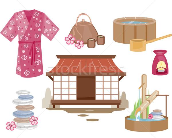 Японский zen Элементы иллюстрация пейзаж чай Сток-фото © lenm