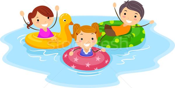 Dispositivo ilustración ninos verano piscina Foto stock © lenm