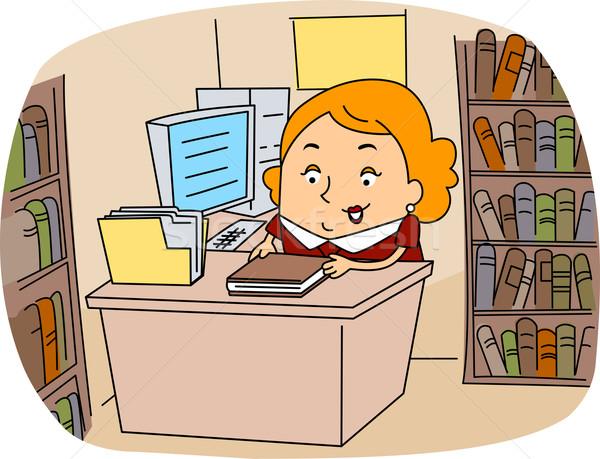 Bibliotecário ilustração trabalhar livros carreira vetor Foto stock © lenm