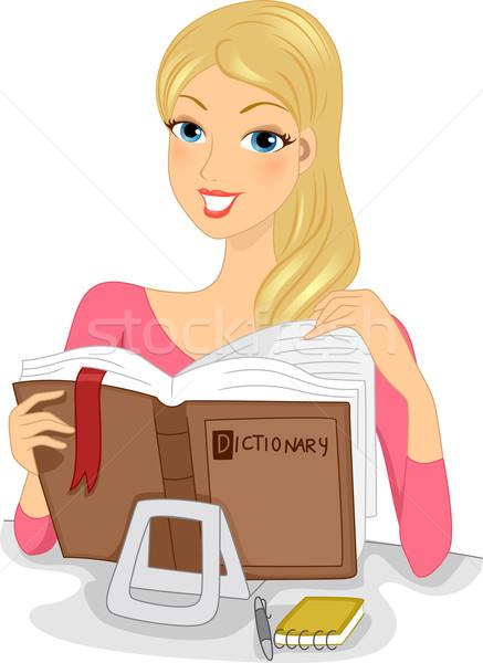 Sözlük gün örnek kadın kitap Stok fotoğraf © lenm