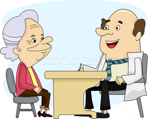 Oude dame arts illustratie overleg man medische Stockfoto © lenm