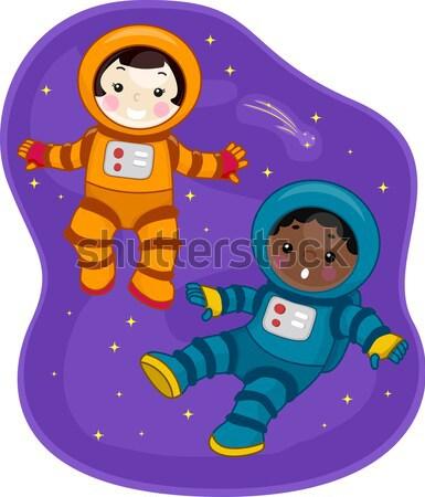 астронавт мальчика флаг луна иллюстрация Сток-фото © lenm