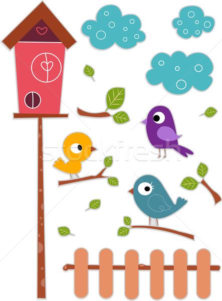 Bird with Birdhouse Sticker Designs Stock photo © lenm