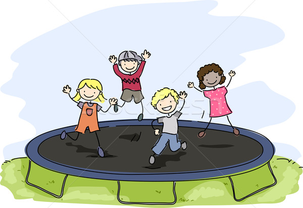 Doodle Kids Trampoline Stock photo © lenm