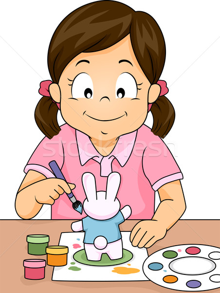 Figurine Painting Girl Stock photo © lenm