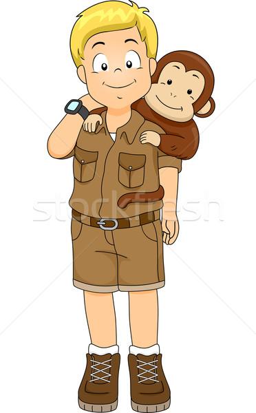 Safari jongen aap illustratie Maakt een reservekopie jonge Stockfoto © lenm
