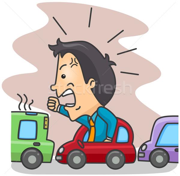 Verkehr Mann böse Straße Karikatur Stock foto © lenm