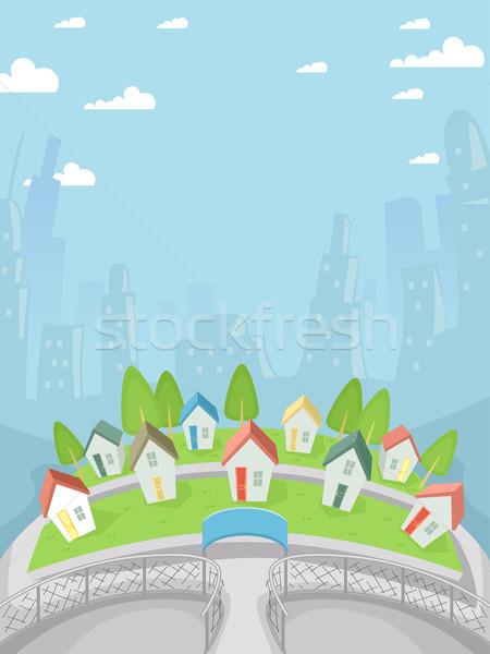 Minúsculo pueblo ilustración completo casas edificios Foto stock © lenm