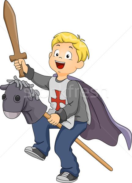 Ragazzo cavaliere illustrazione kid giovani digitale Foto d'archivio © lenm